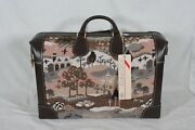 Rare Deluxe French Luggage Countryside And Unicorns Leather And Tapestry Shoe Bag