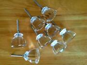 Antique Vintage Style Clear Glass Crystal Cabinet Knob Lot Of 8 Seconds