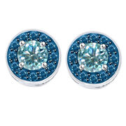 5.25 Ct Round Light Blue Moissanite Sterling Silver Halo Bridal Stud Earrings