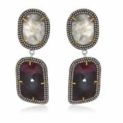 31.19 Ct Slice Sapphire And Brown Diamond 18k Gold And Sterling Drop Earrings