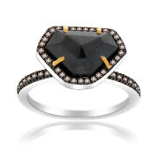 Heavy 4.74 Ct Black Rough And Brown Diamond 18k Gold And Sterling Solitaire Ring 7