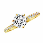 Round Simulated Diamond Solitaire With Accents Engagement Ring 14k Yellow Gold
