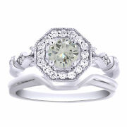 5.5 Ct Genuine Moissanite 2 Piece Engagement Bridal Set Ring Sterling Silver