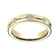 0.32ct Round Cut Natural Diamond 6mm Comfort Fit 18k Yellow Gold Band Ring Sz-8