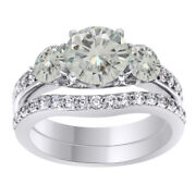 5.5 Ct Genuine Moissanite Bridal Set Engagement Ring In Sterling Silver