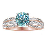 5.5 Ct Round Light Blue Moissanite Sterling Silver Bridal Engagement Ring