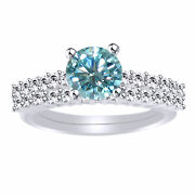 4.5 Ct Round Light Blue Moissanite Engagement Bridal Set Ring In Sterling Silver