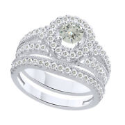 6 Ct Round Genuine Moissanite Bridal Engagement Rings In Sterling Silver