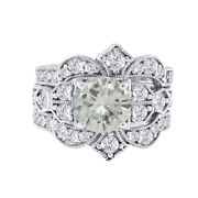 2.5 Ct Moissanite 10k White Gold Engagement Ring Wedding Bridal Set