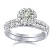 Sterling Silver 6 Ct Genuine Moissanite 2 Piece Halo Engagement Bridal Ring