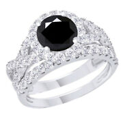Sterling Silver 3.5 Ct Black Moissanite Engagement Bridal Set Ring Jewelry