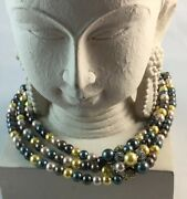 """Heidi Daus Captivating Cluster"""" Crystal And Glass Pearl Necklace 17"""