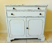 Antique/vtg Painted White Solid Wood White Furniture Co. Sideboard Buffet