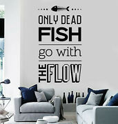 Vinyl Wall Decal Motivational Quote Room Home Decor Dead Fish Stickers G2782