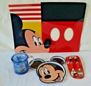 Disney Store Mickey Mouse Meal Time Magic 5 Pc Set Placemat Plate Cup Fork Spoon