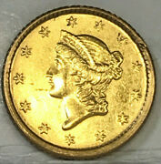 Usa United States 1853 Gold One Dollar And039rare And039 In Excellent Grade