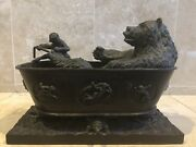 Maitland-smith Bear And Monkey Bathing Bronze Composition Discontinued