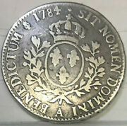 France 1784/74 Rare Overdate Silver Ecu Louis Xvi .. Extremely Hard To Find