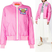 Sz 40 New 2680 Pink 80and039s Style Gg Loved Logo Patch Oversize Bomber Jacket