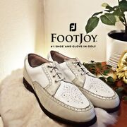 Footjoy Womens Europa Leather Spikes Golf Shoes White Beige 98910 Saddle 6 M