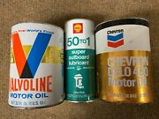 Drained Valvoline, Chevron, And Rare Shell 50 To 1 Outboard Vintage Oil Cans