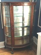Antique Tiger Oak Curio Cabinet Curved Glass Mirrored Back Claw Feet W/ Key Rare