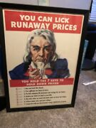 1944 You Can Lick Runaway Prices You Hold The Key...wwii Poster. Nicely Framed.