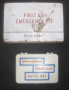 Lot 2 Vintage Johnson And Johnson Travel Auto Medical Emergency First Aid Kits