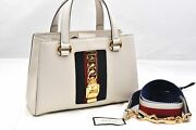 Authentic Sylvie Sherry Line Shoulder Hand Bag 2way Leather White 95916