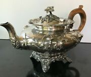 Antique 1842 John S. Tapley Sterling Silver Heavily Embossed Teapot Wood Handle