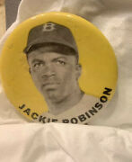 Vintage 1940and039s Jackie Robinson 1-1/2 Pin Button Brooklyn Dodgers Yellow Rare
