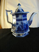 Flow Blue Staffordshire Teapot Chusan By Clementson Circa 1840and039s