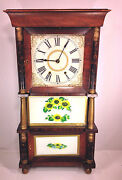Antique Triple Decker Og Clock Appr Weights Nice Wood Case Runs And Strikes Ives