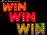 Vintage 1980and039s Win Win Win -bulb-lit Mountable Man Cave Sign /casino Collectible