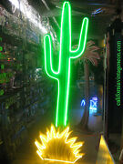 Vintage 1980and039s Neon Cactus Sign / Huge 9 Ft. Tall - Movie Set Piece -