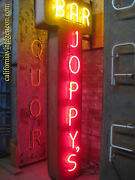 Vintage 1970and039s Joppyand039s Bar Antique Two-sided Neon Sign
