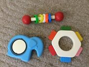 3 Vintage Baby Toys Fisher Price 1976 Blue Elephant Rattle Chicco Teether Infant