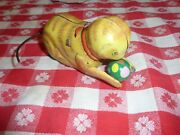 Vintage Wind-up Cat Tin Toy Kitten Kitty W/ball Doesnt Work For Parts 60s70s80