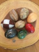 Lot Of 8 Assorted Colored Polished Decorative Marble Eggs