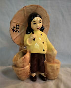 Vintage Mccarty Brothers Calif Oriental Asian Girl W/ Sundshade Planter Pottery