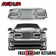 Front Big Horn Chrome Grille Grill + Shell And Light For 2013-2018 Dodge Ram 1500