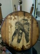 Vintage Bob Dale Art On Wood Indian Chief Native American Western Culture Decor