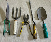 Lot Vtg Garden Hand Tools Wood Handles Cast Wrought Iron Forged Antique