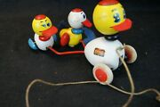 Vintage Brio Wood Pull Toy Duck And Ducklings Sweden