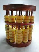 12.5cm Collect Chinese Old Redwood Wood Carving Abacus Pen Container Ppd