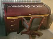Antique Metal Roll Top Desk Fully Restored With Brass Details And Matching Chair