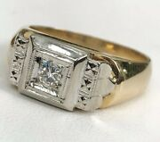 Handsome 14k Yellow And White Gold Genuine .22 Ct. Diamond Ring 9 Grams Size 11.25