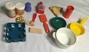 Lot Of Vintage Fisher Price Play Food Pot Bowl Spatula Cans Pizza Ketchup Cup