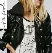 Free People Ashville Vegan Faux Leather Moto Jacket In Black Xs Or S 168 Nwt