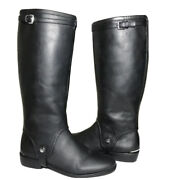 Coach Leona Boots Pointed Toe Black Leather Womenandrsquos Size 7 B Removable Guards